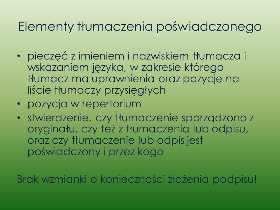 Elementy tłumaczenia poświadczonego