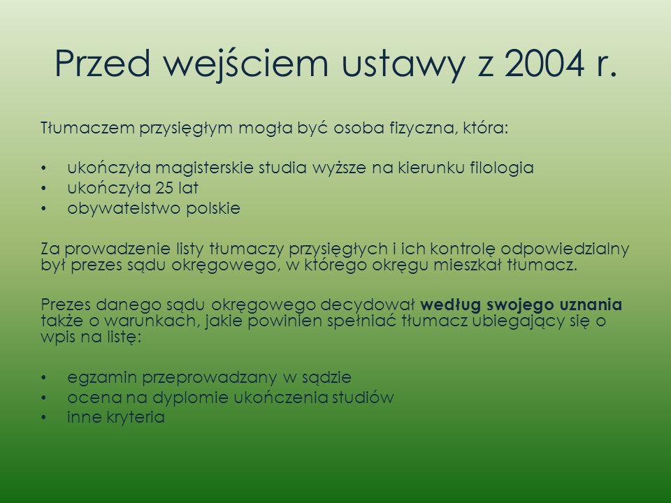 Przed wejściem ustawy z 2004 r.