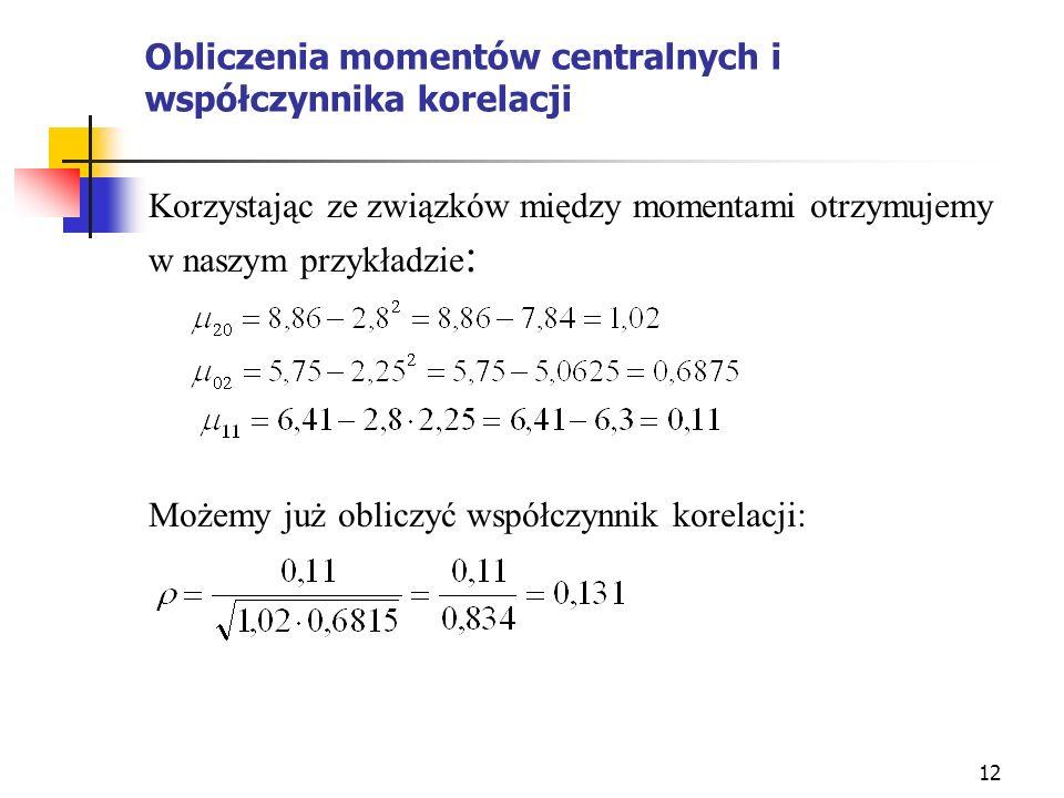Obliczenia momentów centralnych i współczynnika korelacji