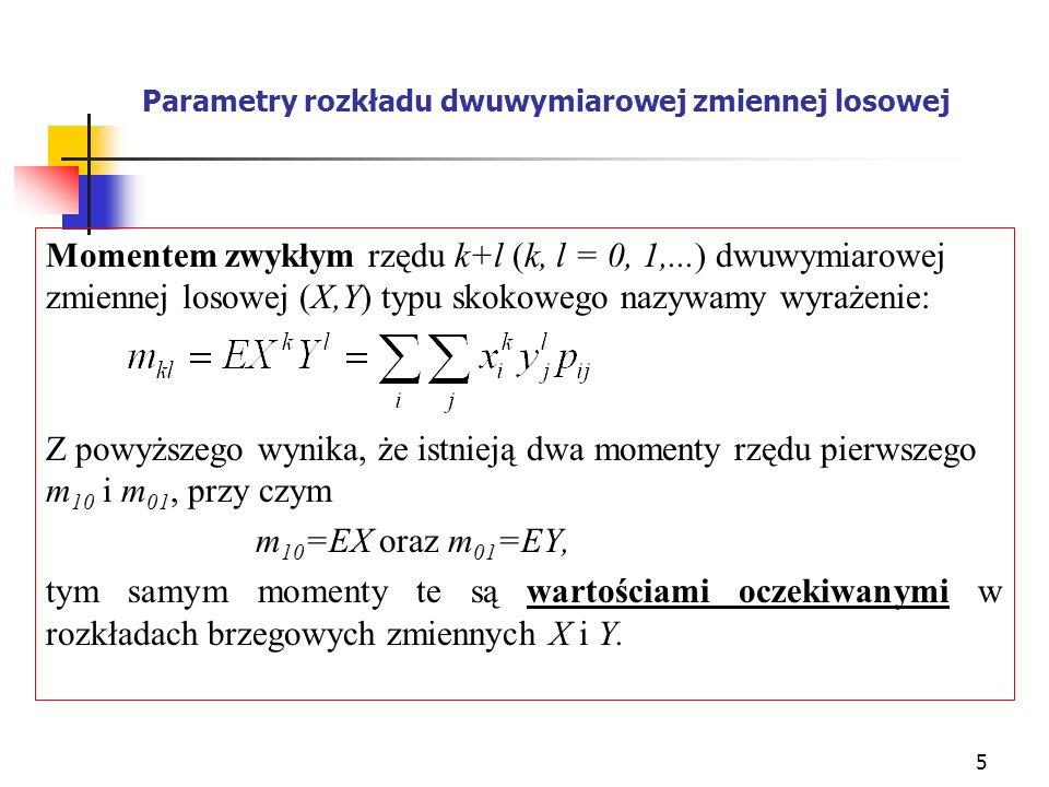 Parametry rozkładu dwuwymiarowej zmiennej losowej