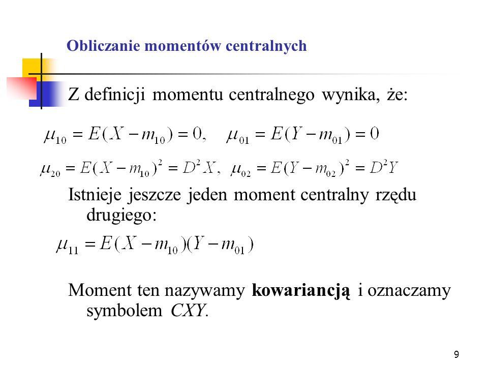 Obliczanie momentów centralnych