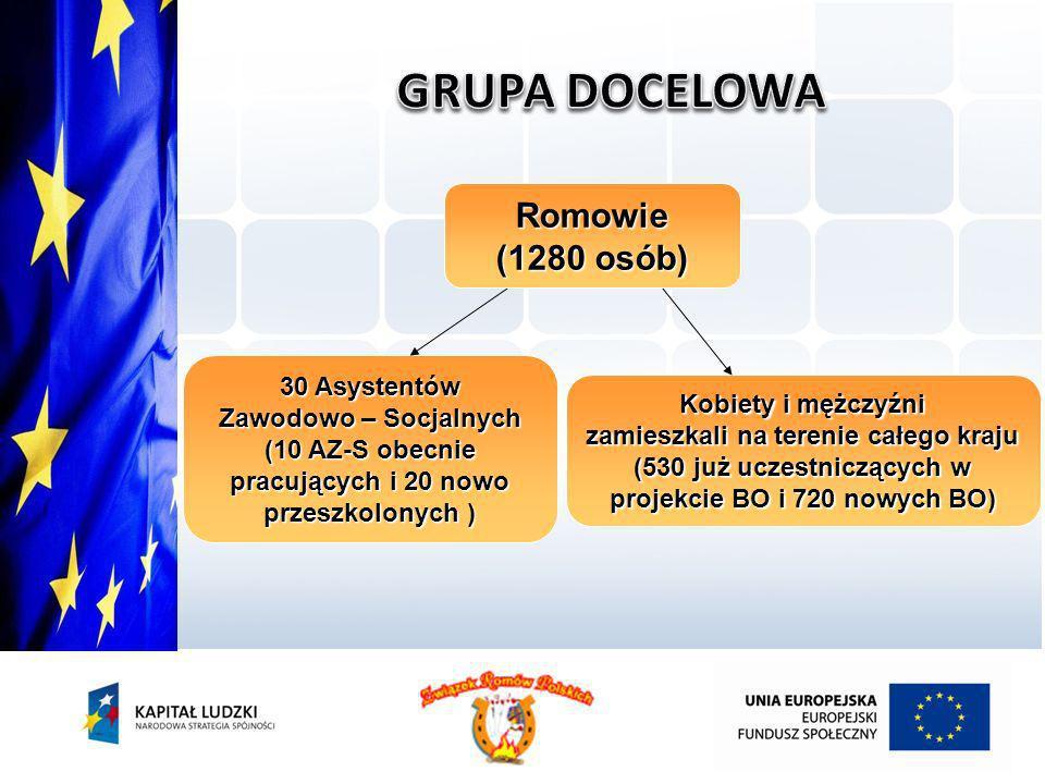 GRUPA DOCELOWA Romowie (1280 osób) 30 Asystentów Zawodowo – Socjalnych