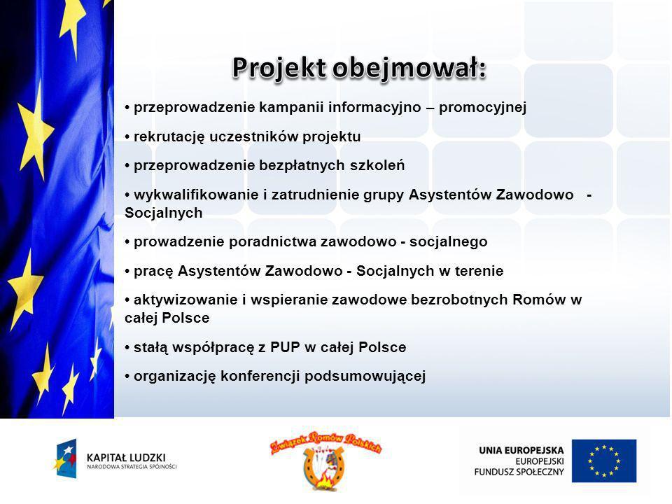 Projekt obejmował: • przeprowadzenie kampanii informacyjno – promocyjnej. • rekrutację uczestników projektu.