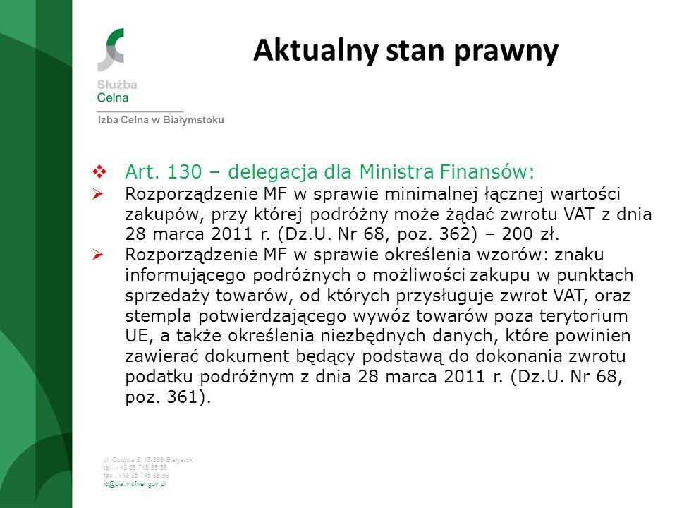 Aktualny stan prawny Art. 130 – delegacja dla Ministra Finansów:
