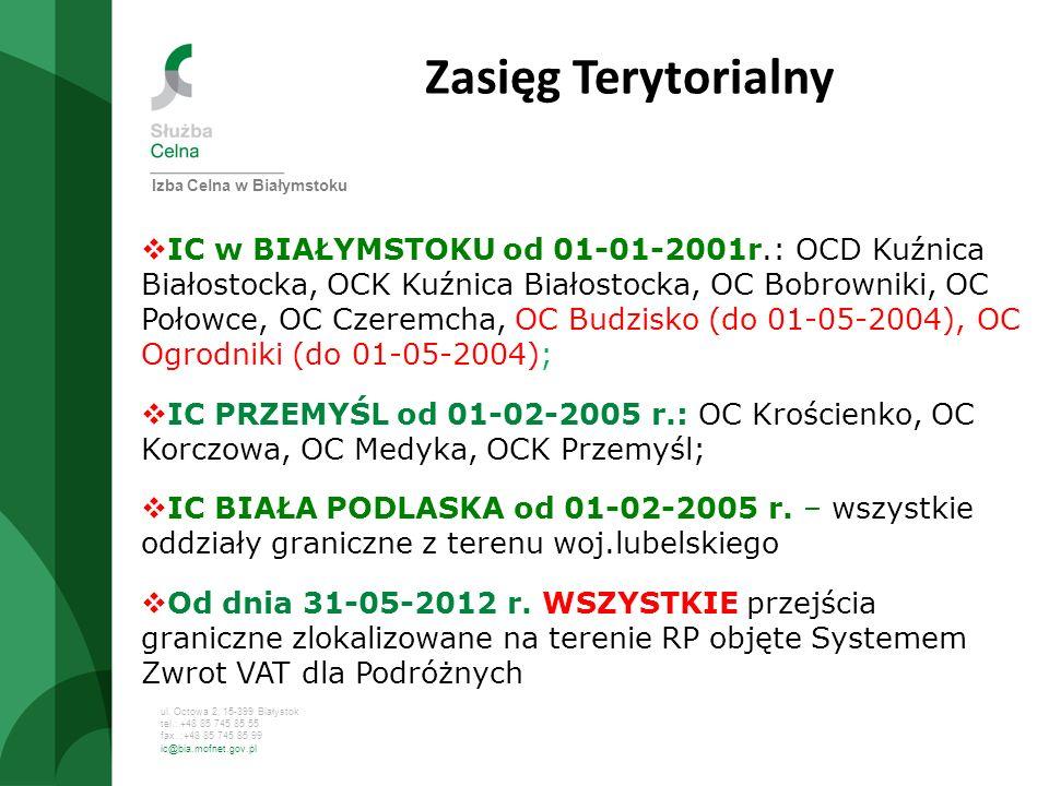 Zasięg Terytorialny Izba Celna w Białymstoku.