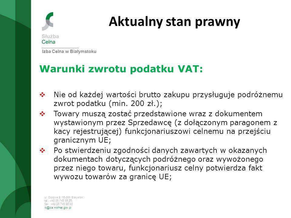 Aktualny stan prawny Warunki zwrotu podatku VAT: