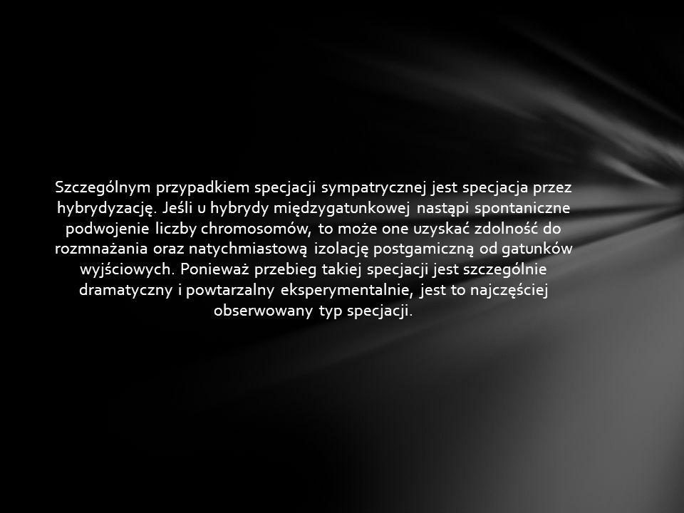 Szczególnym przypadkiem specjacji sympatrycznej jest specjacja przez hybrydyzację.