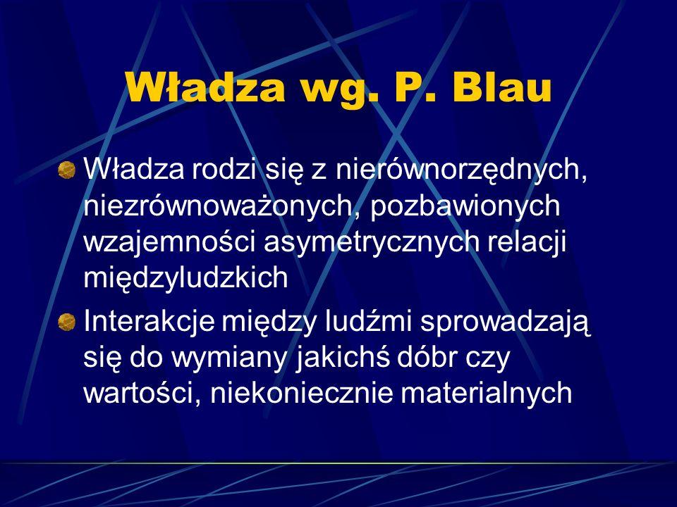 Władza wg. P. Blau Władza rodzi się z nierównorzędnych, niezrównoważonych, pozbawionych wzajemności asymetrycznych relacji międzyludzkich.