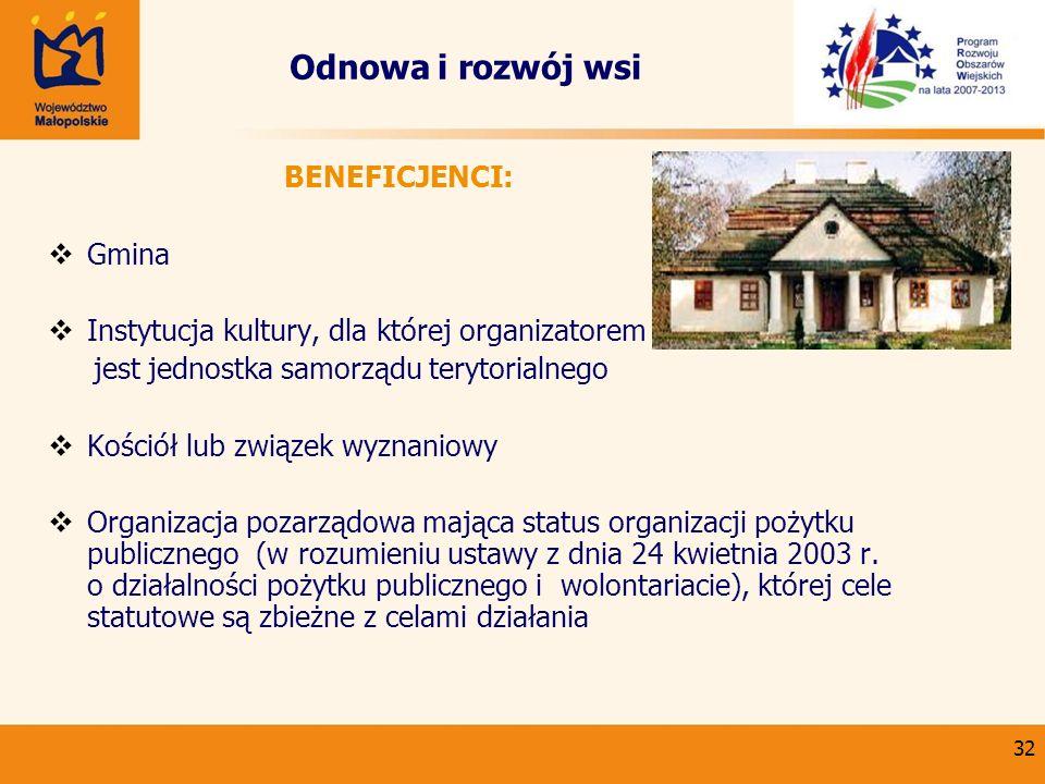 Odnowa i rozwój wsi Gmina Instytucja kultury, dla której organizatorem
