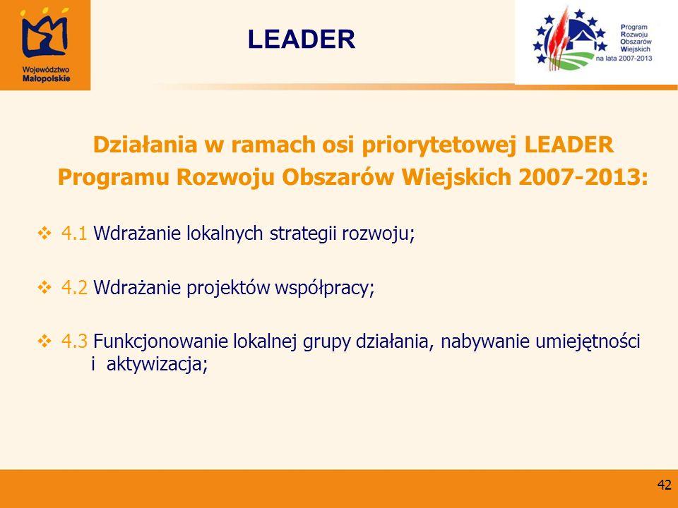 LEADER Działania w ramach osi priorytetowej LEADER