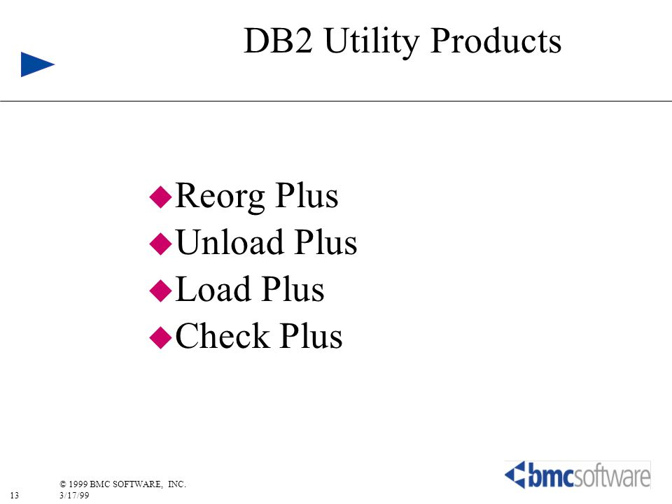 DB2 Utility Products Reorg Plus Unload Plus Load Plus Check Plus
