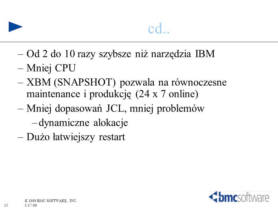 cd.. Od 2 do 10 razy szybsze niż narzędzia IBM Mniej CPU