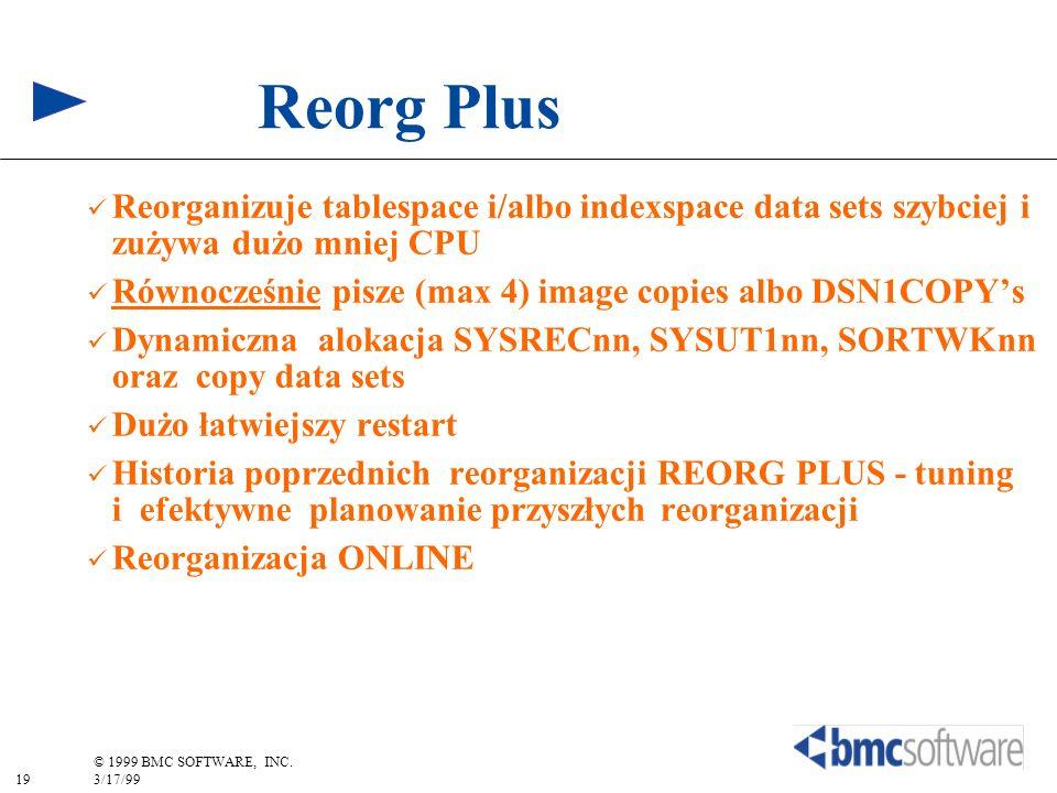 Reorg PlusReorganizuje tablespace i/albo indexspace data sets szybciej i zużywa dużo mniej CPU.