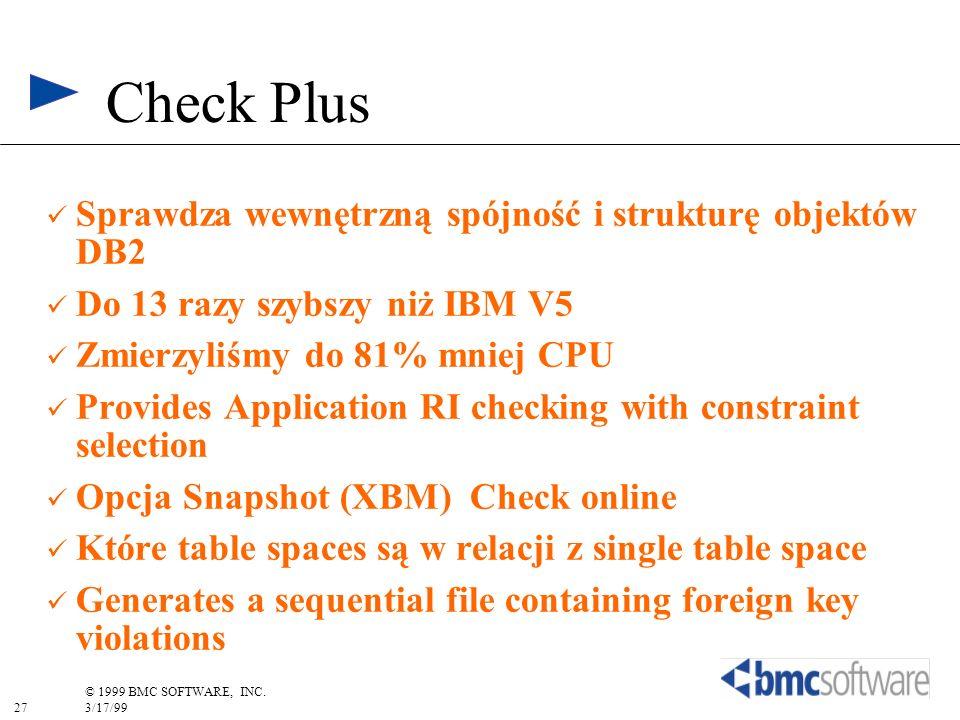 Check Plus Sprawdza wewnętrzną spójność i strukturę objektów DB2