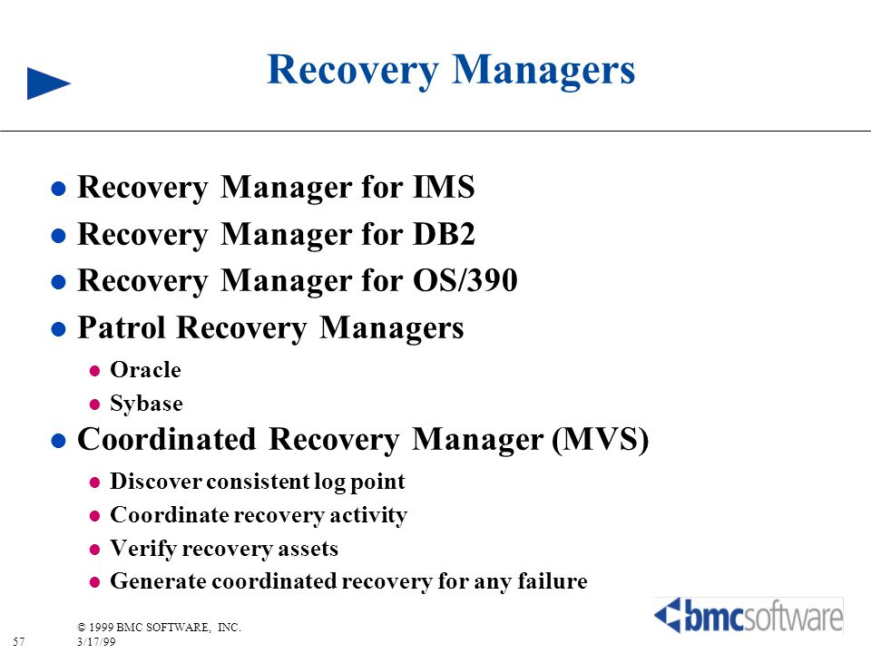 Recovery Managers Recovery Manager for IMS Recovery Manager for DB2