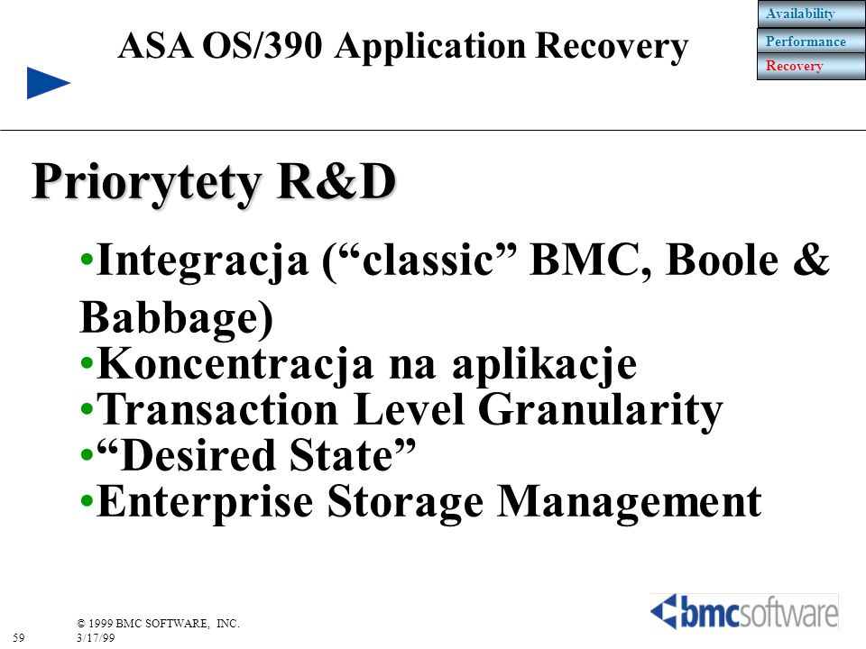Priorytety R&D Integracja ( classic BMC, Boole & Babbage)
