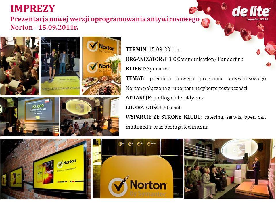 IMPREZY Prezentacja nowej wersji oprogramowania antywirusowego Norton - 15.09.2011r. TERMIN: 15.09. 2011 r.