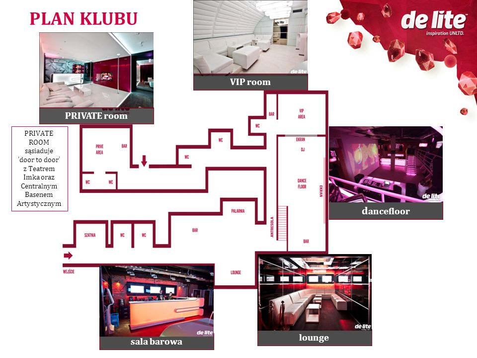 PLAN KLUBU dancefloor VIP room PRIVATE room lounge sala barowa