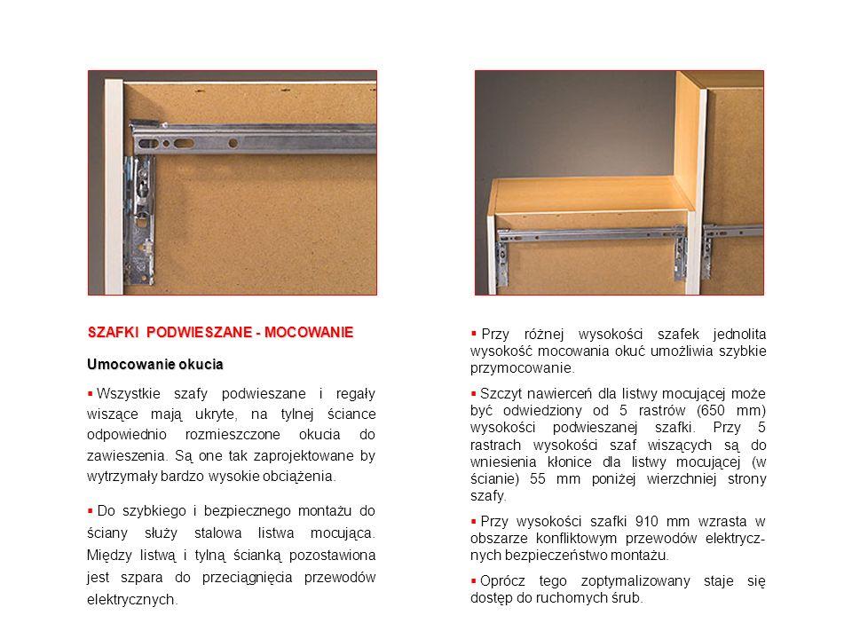 Przy różnej wysokości szafek jednolita wysokość mocowania okuć umożliwia szybkie przymocowanie.