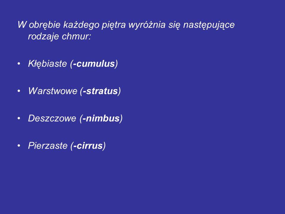 W obrębie każdego piętra wyróżnia się następujące rodzaje chmur: