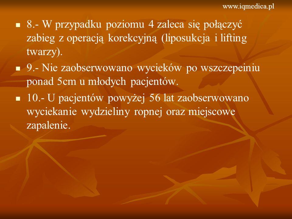 www.iqmedica.pl 8.- W przypadku poziomu 4 zaleca się połączyć zabieg z operacją korekcyjną (liposukcja i lifting twarzy).