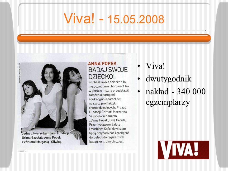 Viva! - 15.05.2008 Viva! dwutygodnik nakład - 340 000 egzemplarzy