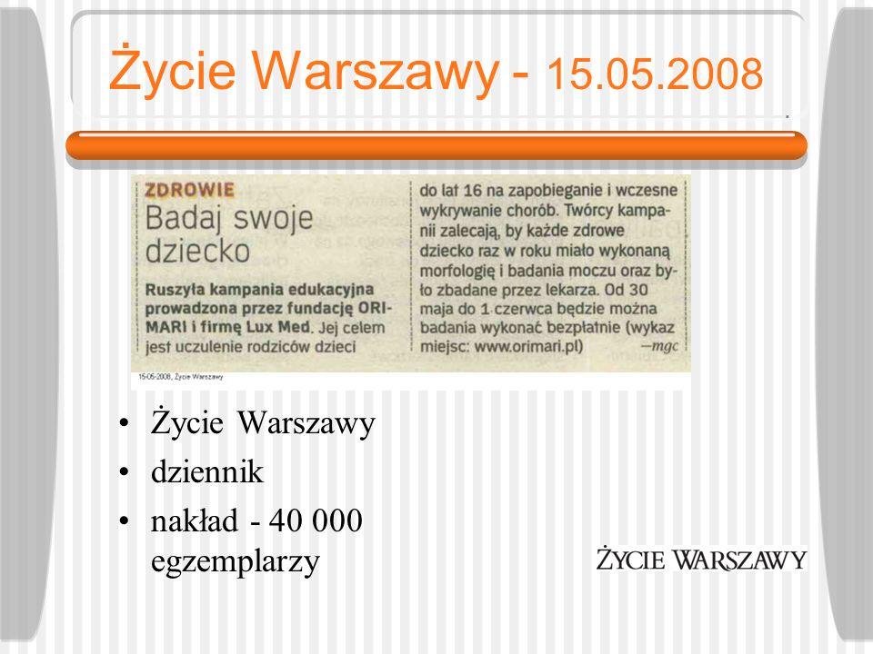 Życie Warszawy - 15.05.2008 Życie Warszawy dziennik