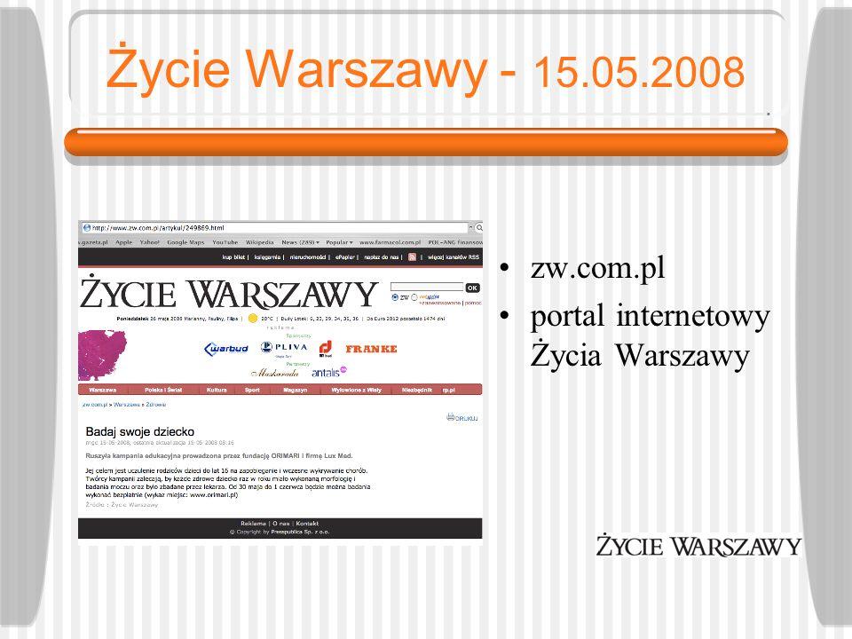 Życie Warszawy - 15.05.2008 zw.com.pl