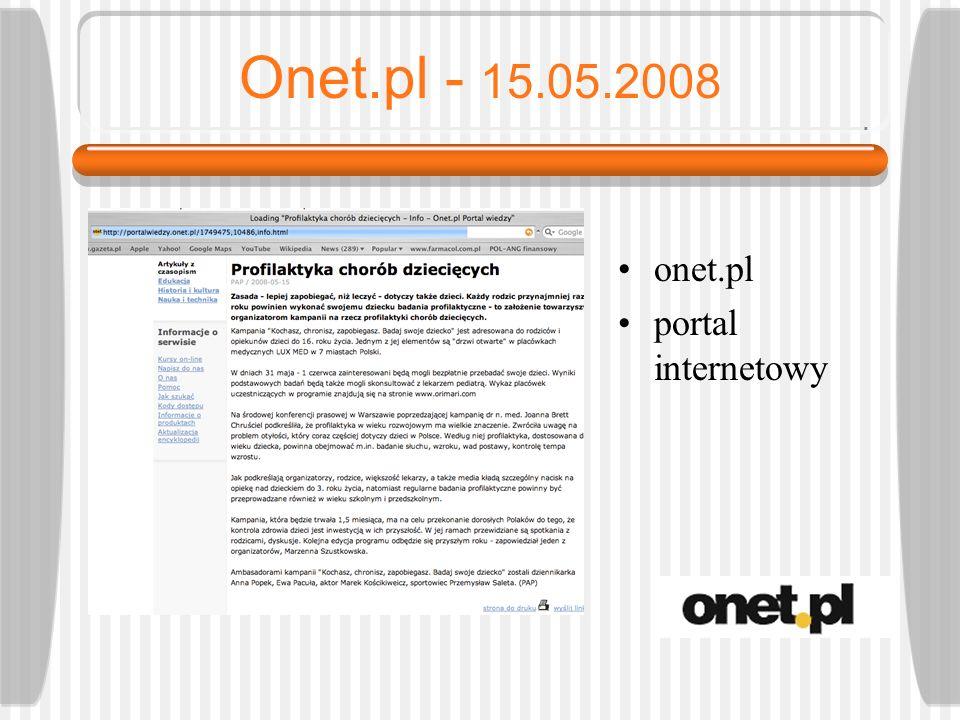 Onet.pl - 15.05.2008 onet.pl portal internetowy