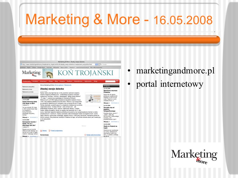 Marketing & More - 16.05.2008 marketingandmore.pl portal internetowy