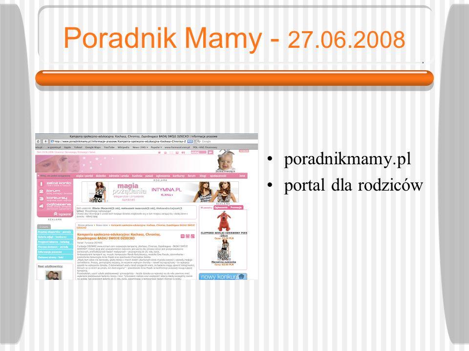 Poradnik Mamy - 27.06.2008 poradnikmamy.pl portal dla rodziców