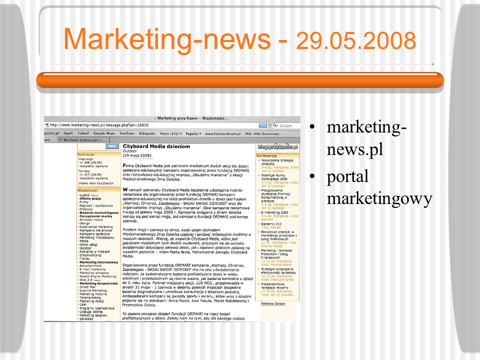 Marketing-news - 29.05.2008 marketing-news.pl portal marketingowy
