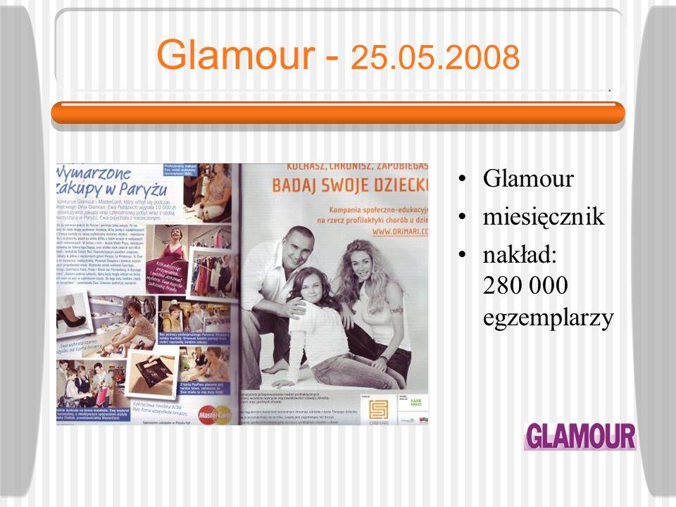 Glamour - 25.05.2008 Glamour miesięcznik nakład: 280 000 egzemplarzy