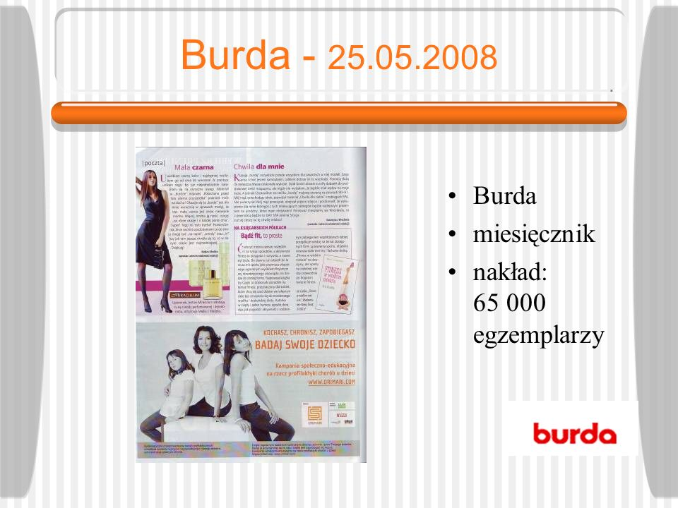 Burda - 25.05.2008 Burda miesięcznik nakład: 65 000 egzemplarzy