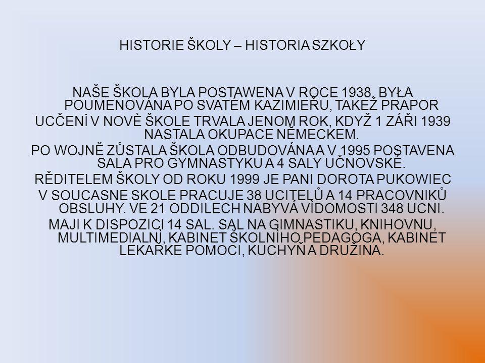 HISTORIE ŠKOLY – HISTORIA SZKOŁY