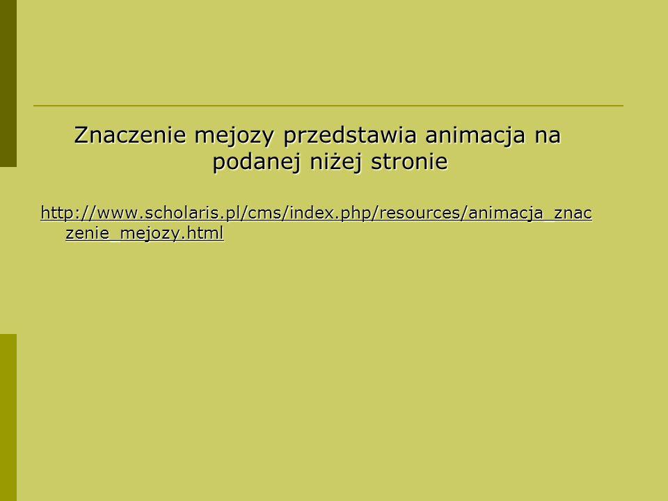 Znaczenie mejozy przedstawia animacja na podanej niżej stronie