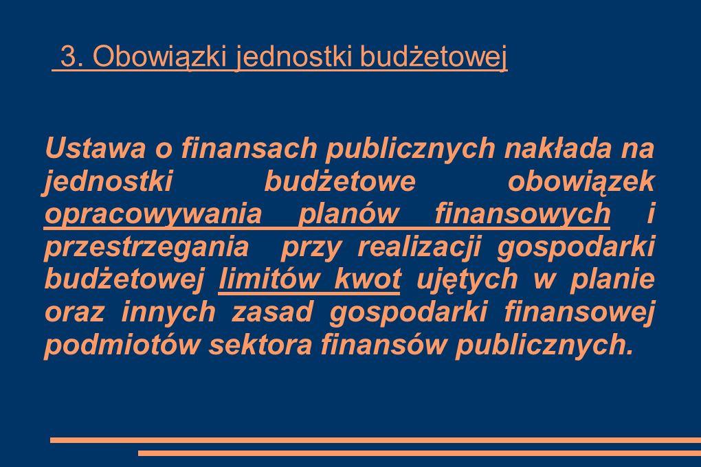 3. Obowiązki jednostki budżetowej