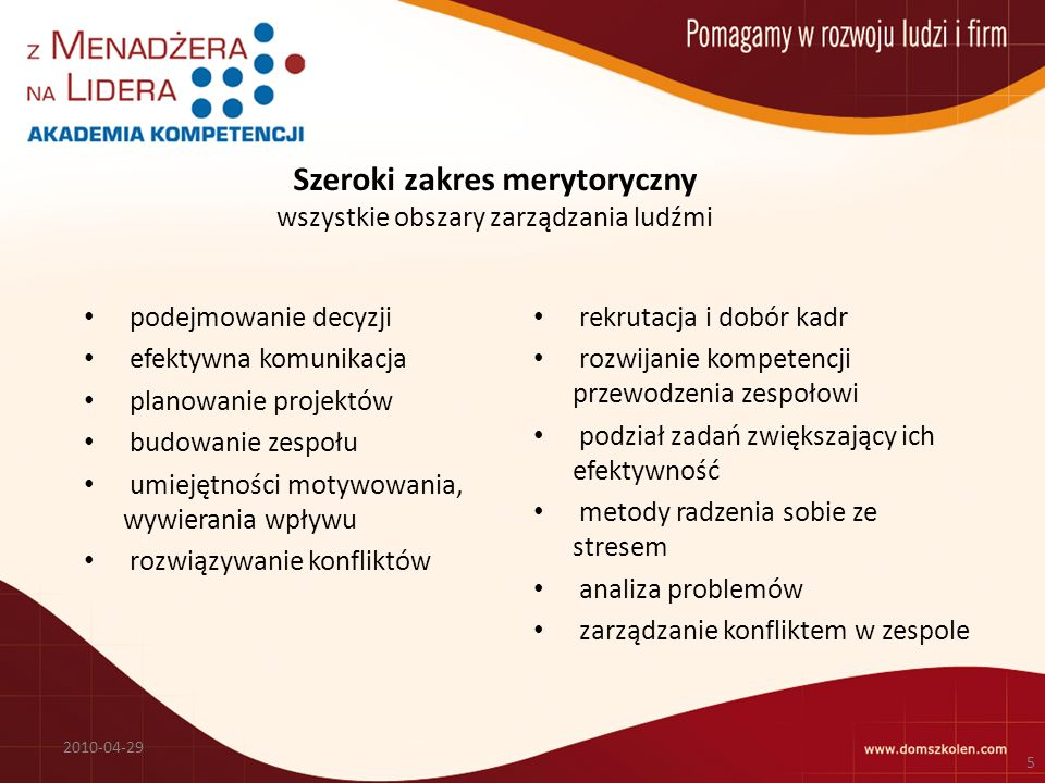 Szeroki zakres merytoryczny wszystkie obszary zarządzania ludźmi