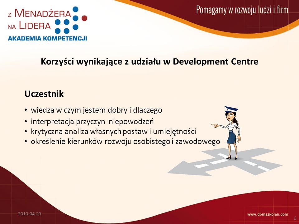 Korzyści wynikające z udziału w Development Centre