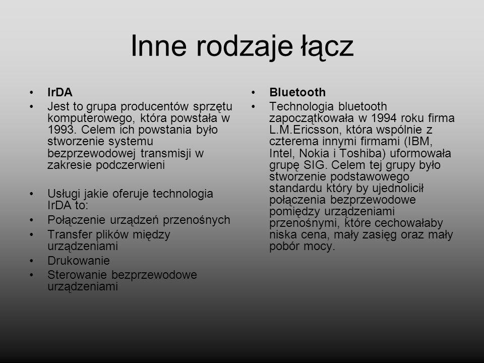 Inne rodzaje łącz IrDA.