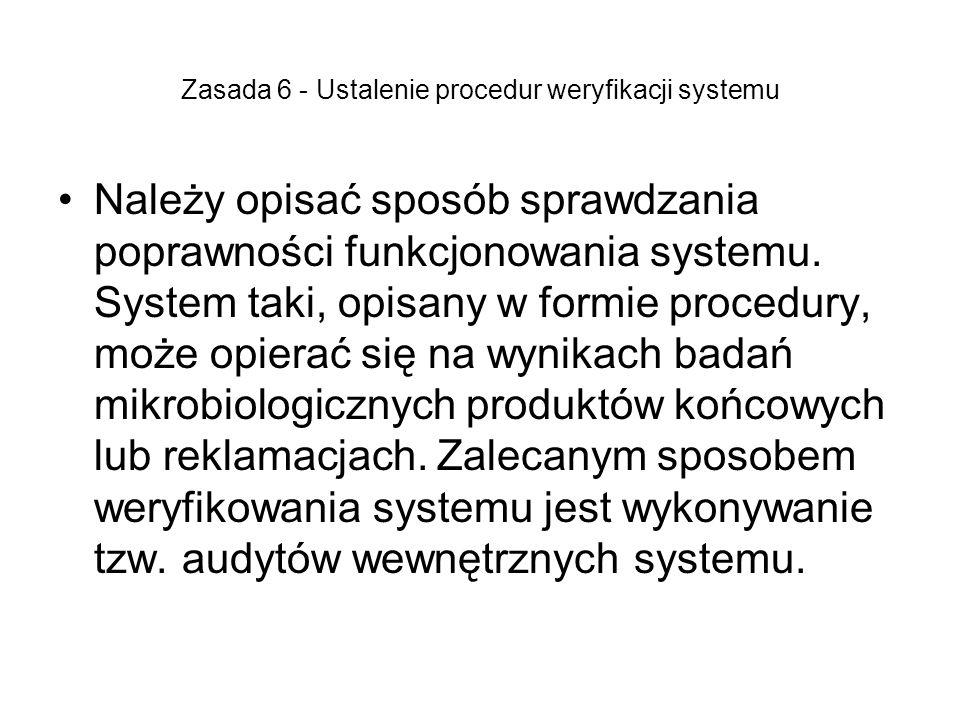 Zasada 6 - Ustalenie procedur weryfikacji systemu