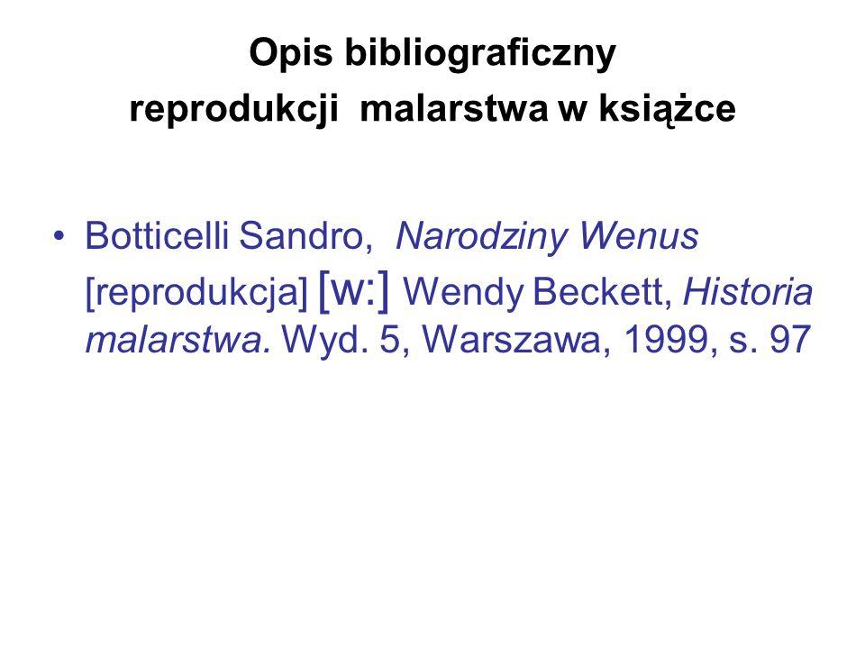 Opis bibliograficzny reprodukcji malarstwa w książce