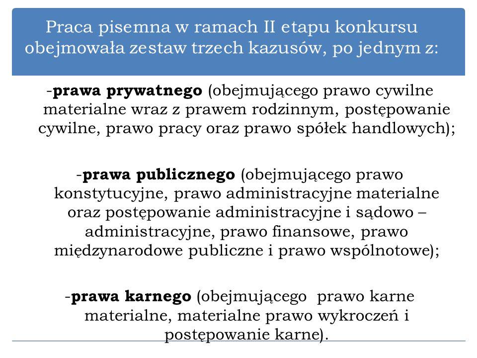 Praca pisemna w ramach II etapu konkursu obejmowała zestaw trzech kazusów, po jednym z: