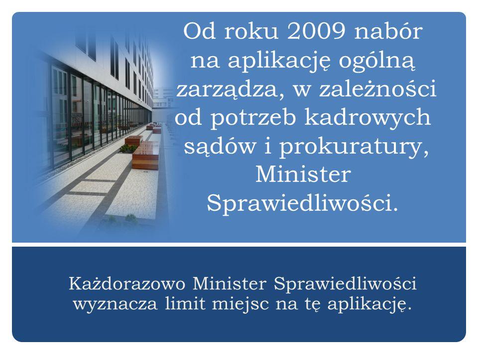 Od roku 2009 nabór na aplikację ogólną zarządza, w zależności od potrzeb kadrowych sądów i prokuratury, Minister Sprawiedliwości.