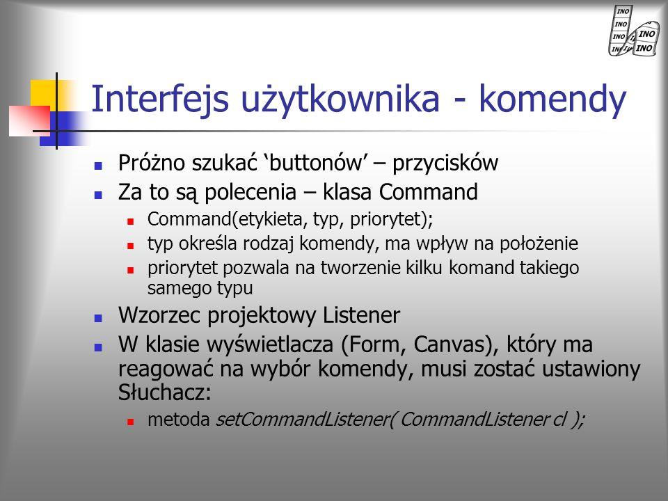 Interfejs użytkownika - komendy