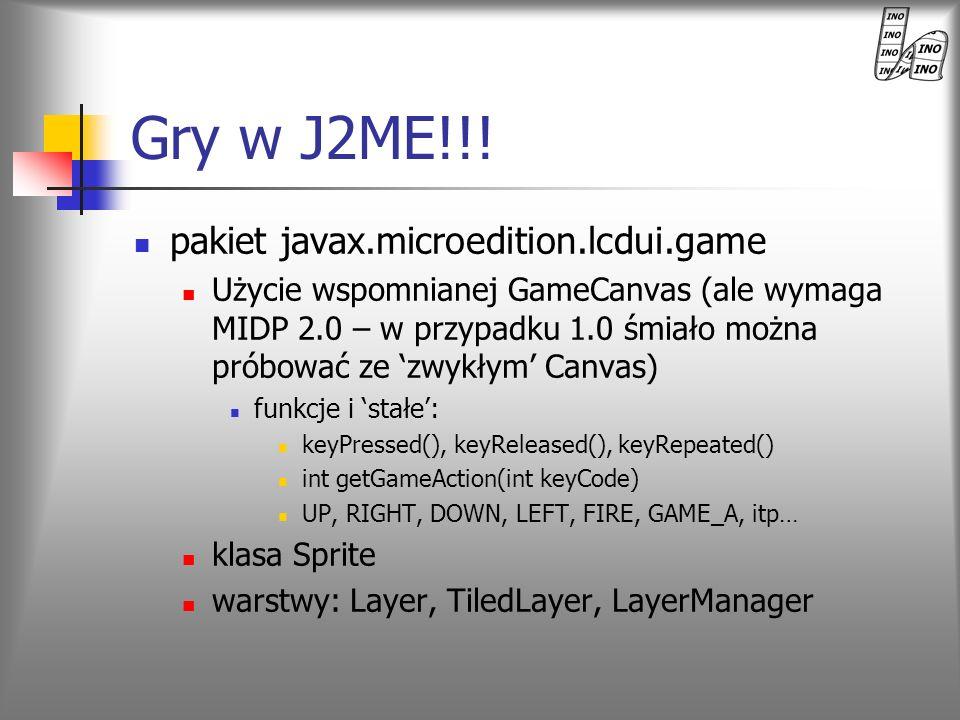 Gry w J2ME!!! pakiet javax.microedition.lcdui.game