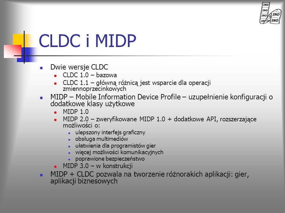 CLDC i MIDP Dwie wersje CLDC