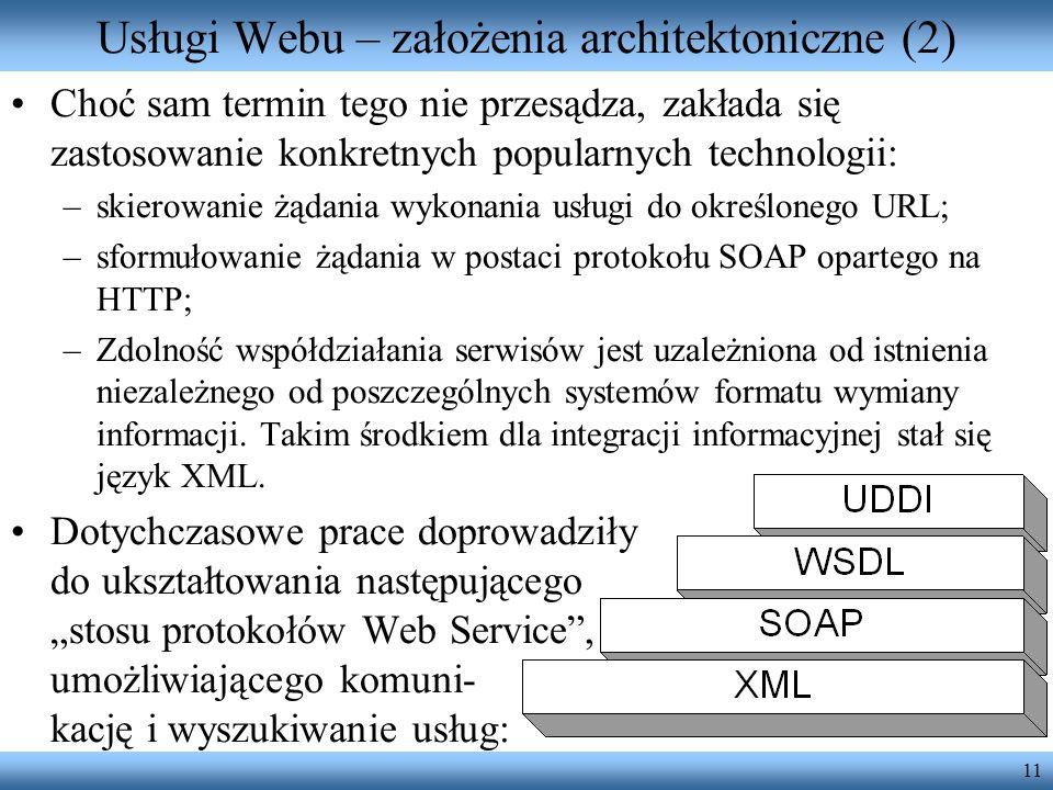 Usługi Webu – założenia architektoniczne (2)