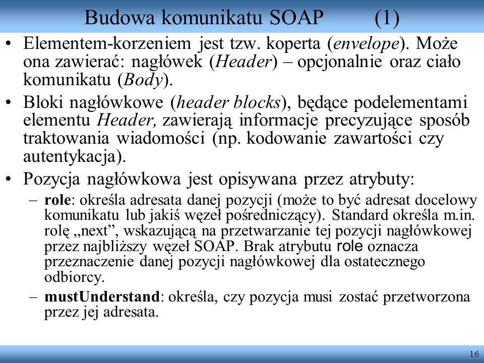 Budowa komunikatu SOAP (1)