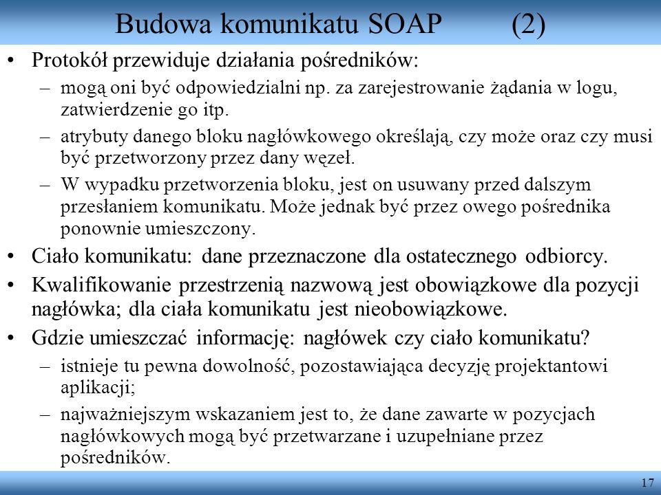 Budowa komunikatu SOAP (2)